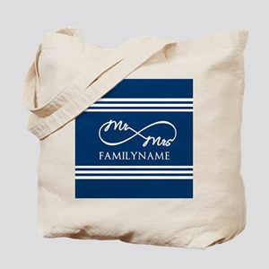 Navy Blue Infinity Mr and Mrs Personalize Tote Bag