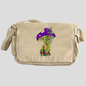 Hookah Smoking Caterpillar and Purpl Messenger Bag