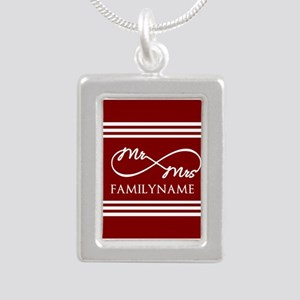 Red Infinity Mr and Mrs Silver Portrait Necklace
