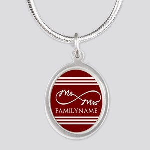 Red Infinity Mr and Mrs Perso Silver Oval Necklace
