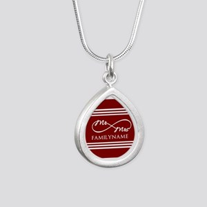 Red Infinity Mr and Mrs Silver Teardrop Necklace