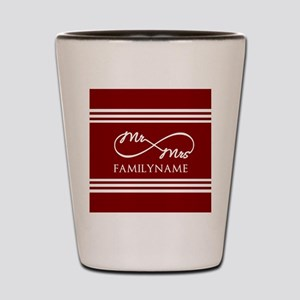 Red Infinity Mr and Mrs Personalized Shot Glass