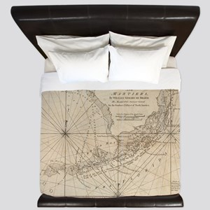 Vintage Map of The Florida Keys (1771) King Duvet