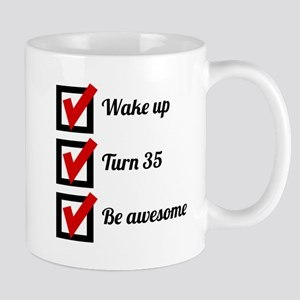 Awesome 35th Birthday Checklist Mugs
