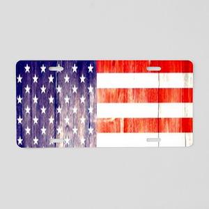 rustic wood grain USA flag Aluminum License Plate