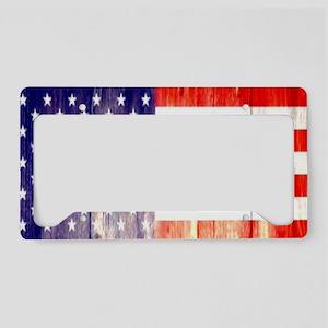 rustic wood grain USA flag License Plate Holder