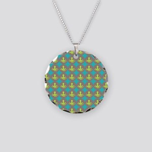 Yellow octopus pattern Necklace Circle Charm
