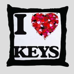 I Love Keys Throw Pillow
