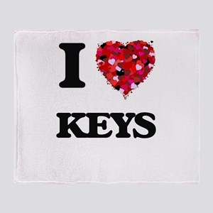 I Love Keys Throw Blanket