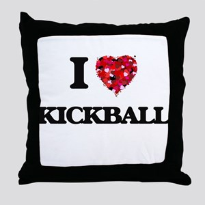 I Love Kickball Throw Pillow