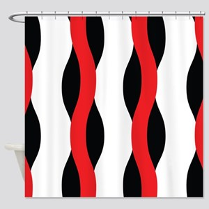 Red and black waves Shower Curtain