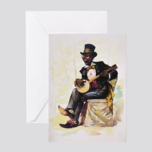 African American banjo player Vintag Greeting Card