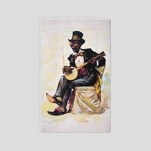 African American banjo player Vintage Lit Area Rug