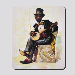 African American banjo player Vintage Li Mousepad