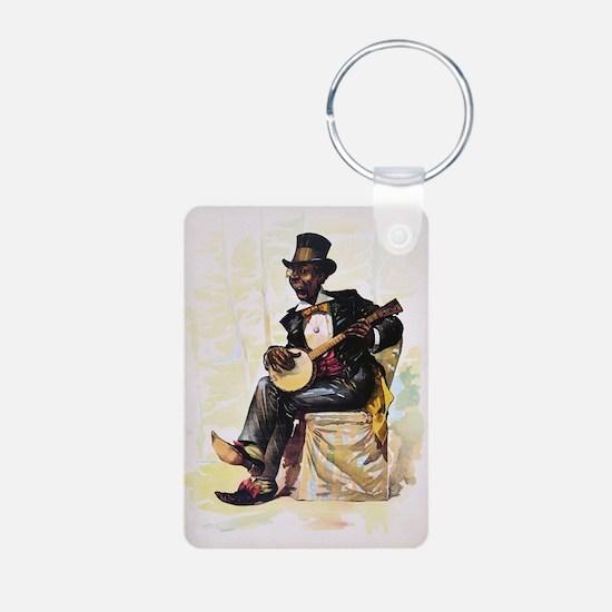 African American banjo pla Keychains