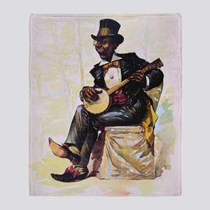 African American banjo player Vintag Throw Blanket