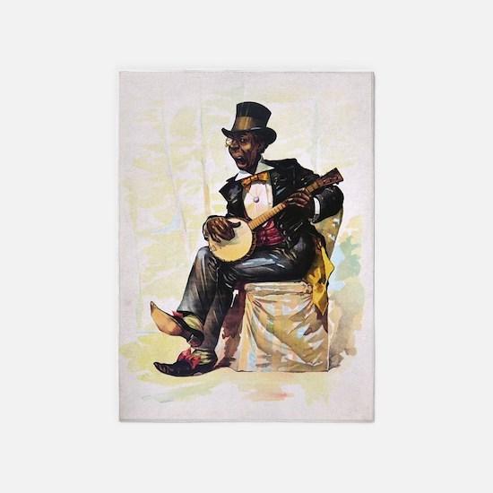 African American banjo player Vinta 5'x7'Area Rug