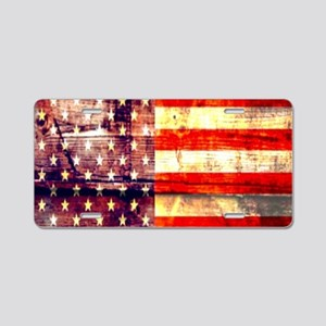 grunge vintage USA flag Aluminum License Plate