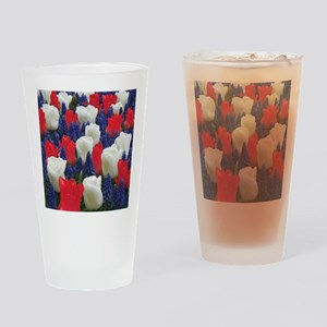 Red and White Tulips Drinking Glass