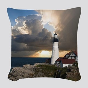 Lighthouse Lookout Woven Throw Pillow