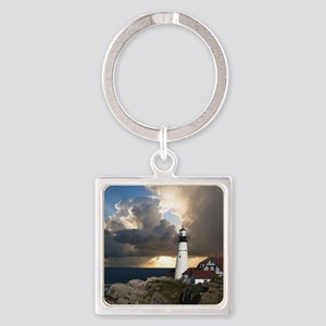 Lighthouse Lookout Square Keychain
