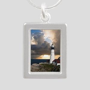 Lighthouse Lookout Silver Portrait Necklace