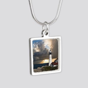 Lighthouse Lookout Silver Square Necklace