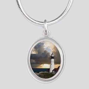 Lighthouse Lookout Silver Oval Necklace
