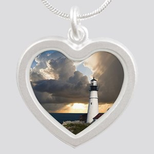 Lighthouse Lookout Silver Heart Necklace