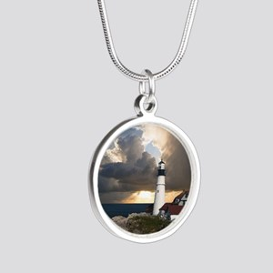 Lighthouse Lookout Silver Round Necklace