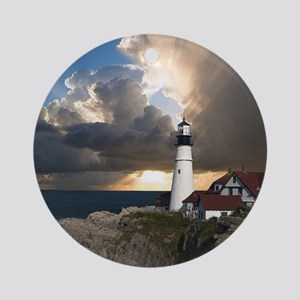 Lighthouse Lookout Round Ornament
