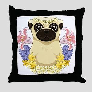 Spring Pug Throw Pillow