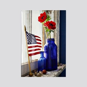 Patriotic Flowers Rectangle Magnet
