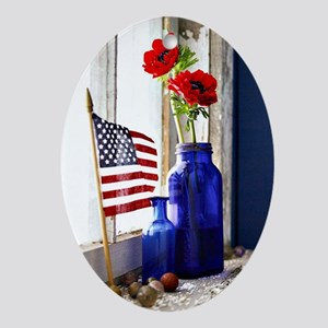 Patriotic Flowers Oval Ornament