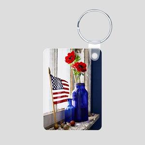 Patriotic Flowers Aluminum Photo Keychain