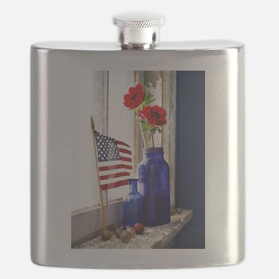 Patriotic Flowers Flask
