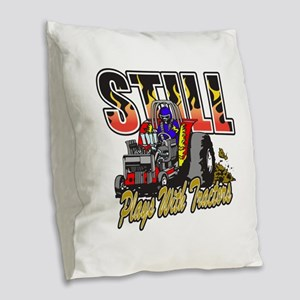 Tractor Pull Still Plays with Burlap Throw Pillow