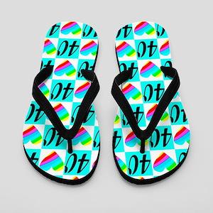 Blue Love 40th Flip Flops