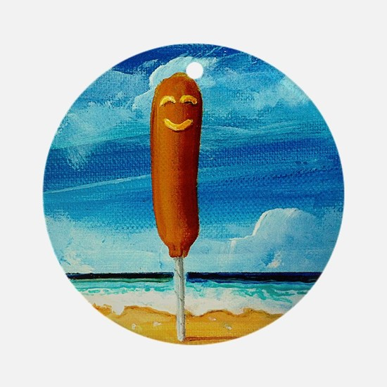 Corn Dog At The Beach Ornament (Round)