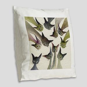 Kessells Stray Cats Burlap Throw Pillow
