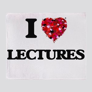 I Love Lectures Throw Blanket
