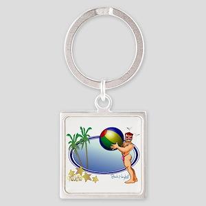 Beach Ball Square Keychain