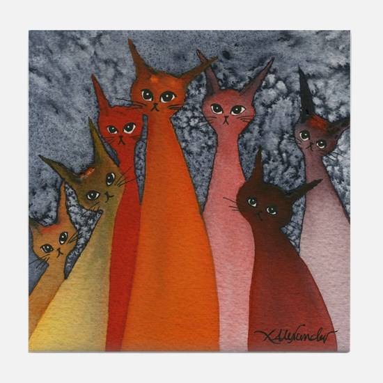 Casablanca Stray Cats Tile Coaster