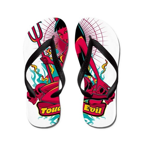 devil pin up girl touch of evil flip flops by listing store 130321342