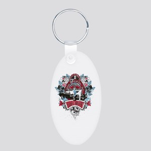 Sailor Pin Up Girl - Mustan Aluminum Oval Keychain