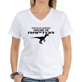 Save a Horse, Ride a Raptor Women's V-Neck T-Shirt