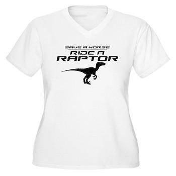 Save a Horse, Ride a Raptor Women's Plus Size V-Ne