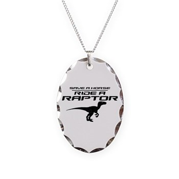 Save a Horse, Ride a Raptor Necklace Oval Charm