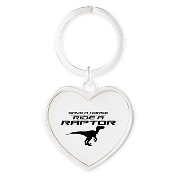 Save a Horse, Ride a Raptor Heart Keychain
