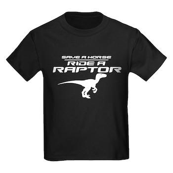 Save a Horse, Ride a Raptor Kids Dark T-Shirt